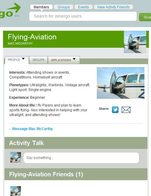 An example of a Zenergo member's Flying-Aviation Activity page with some information filled in.
