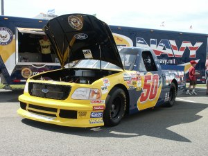 NASCAR race car with hood up