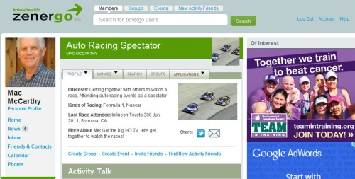 Sample Zenergo Auto Race Spectator Activity Page
