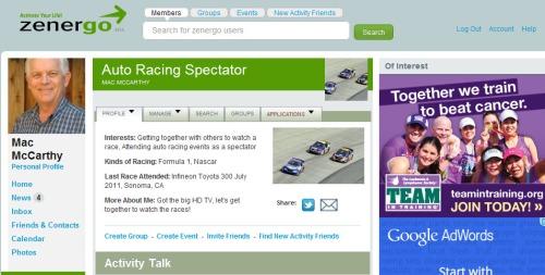 Sample Zenergo Auto Race Spectator Activity Page