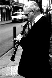 Clarinetist playing on the street