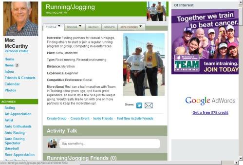 An Example of a Zenergo Member's Running/Jogging Activity Page